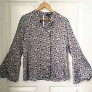 Banana Republic Silver floral blouse